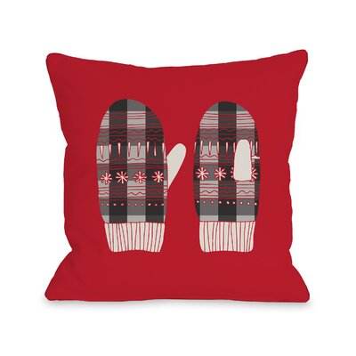 Plaid Mittens Throw Pillow Size: 18 H x 18 W