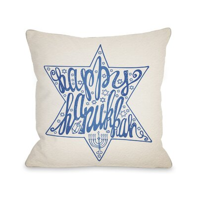 Happy Hanukkah Throw Pillow Size: 18 H x 18 W
