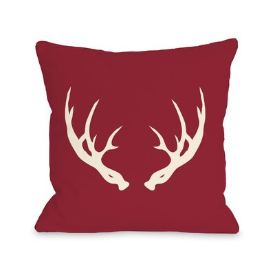 Adler Antlers Throw Pillow Size: 18 H x 18 W