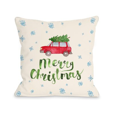 Merry Christmas Car Tree Throw Pillow Size: 18 H x 18 W