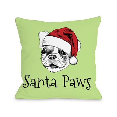 Santa Paws Throw Pillow Size: 18 H x 18 W