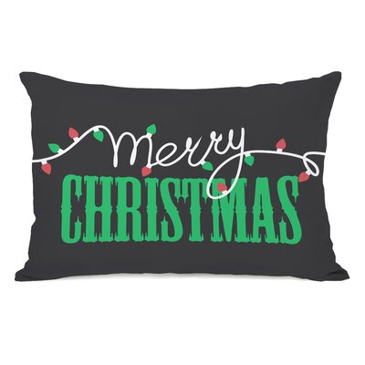 Merry Christmas Light Strand Lumbar Pillow