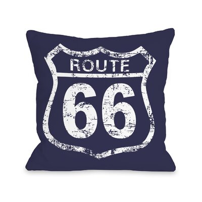 Route 66 Throw Pillow Size: 18 H x 18 W x 3 D