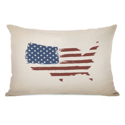 USA Map Flag Lumbar Pillow