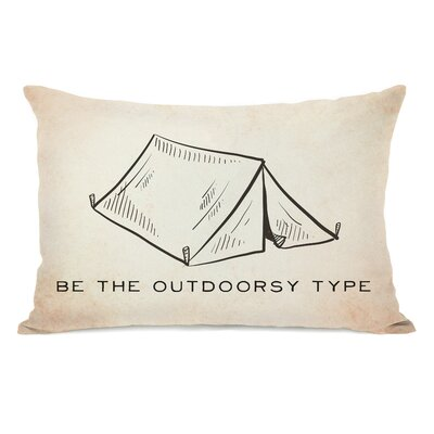 Vintage Tent Outdoorsy Type Lumbar Pillow