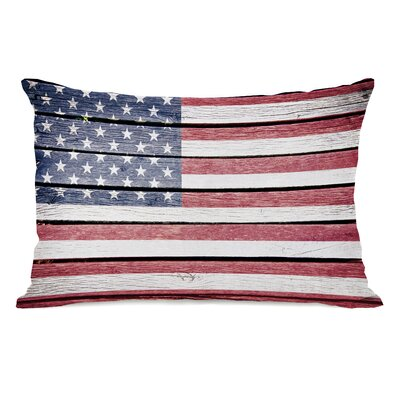 Wood American Flag Lumbar Pillow