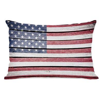 Wood American Flag Lumbar Pillow