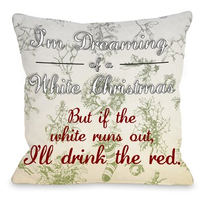 White Christmas Red Wine Throw Pillow