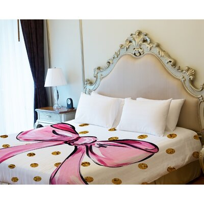 Bow Dots Lightweight Duvet Cover Size: Full Queen