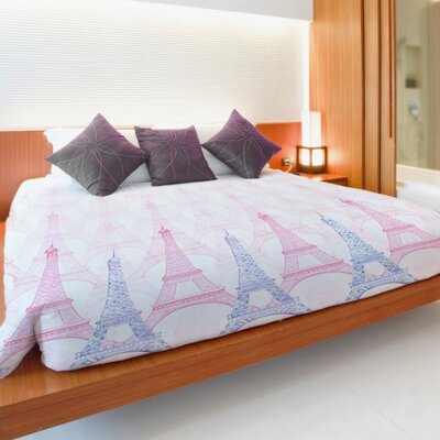 Eiffel Tower Multi Duvet Cover Size: Full Queen