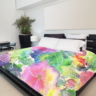Rainbow Splatter Flower Duvet Cover Size: King
