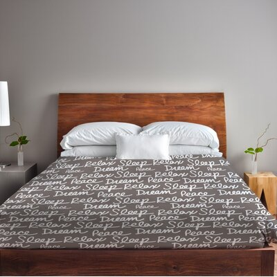 All Over Sleep Words Lightweight Duvet Cover Size: King