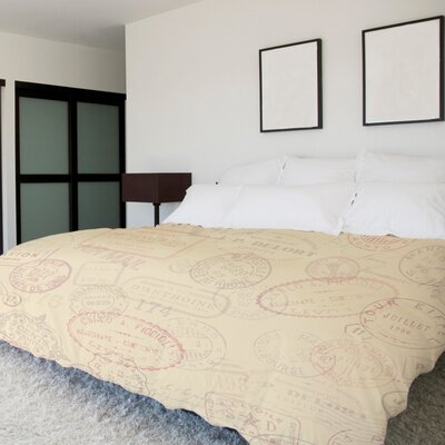 Traveling Stamps Lightweight Duvet Cover Size: Full Queen