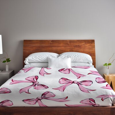 Hello Beautiful Bow Lightweight Duvet Cover Size: Full Queen