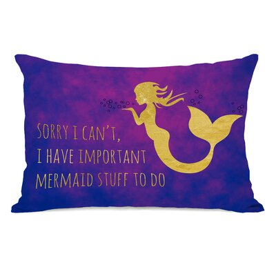 Hoehn Important Mermaid Stuff Outdoor Lumbar Pillow
