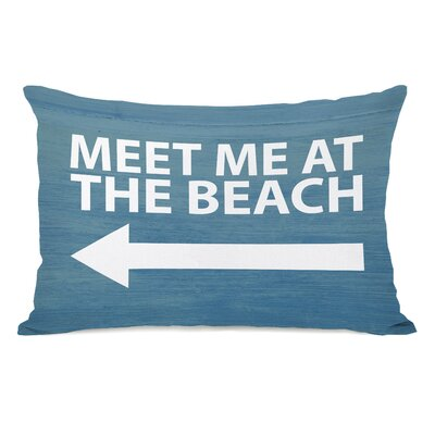Meet Me at the Beach Wood Lumbar Pillow
