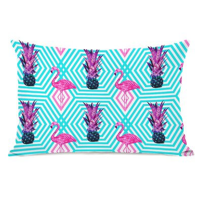 Tropical Flamingo Pineapple Lumbar Pillow