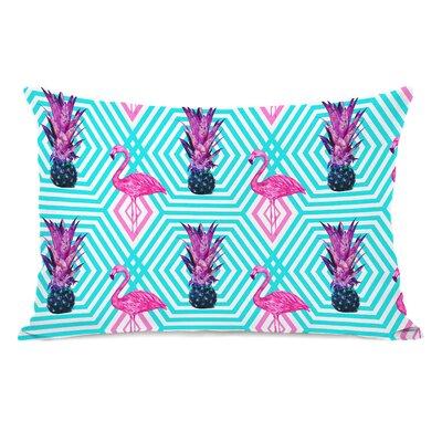 Tropical Flamingo Pineapple Lumbar Pillow