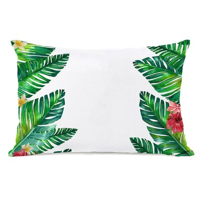 Tropical Palm Leaves Lumbar Pillow
