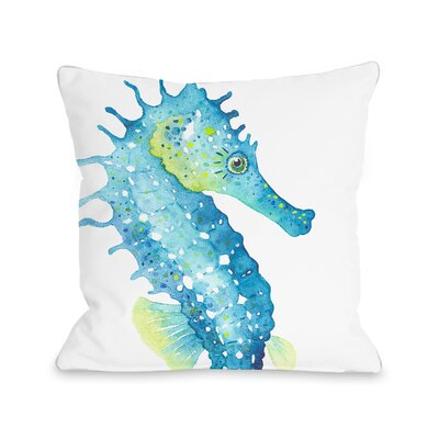 Holmgren Seahorse Outdoor Throw Pillow Size: 18 x 18
