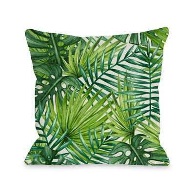 Collier Palm Leaves Outdoor Throw Pillow Size: 18 x 18