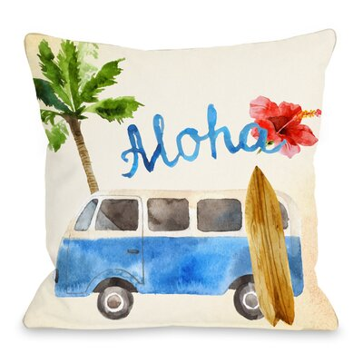 Aloha Surf Van Throw Pillow Size: 18 H x 18 W x 3 D
