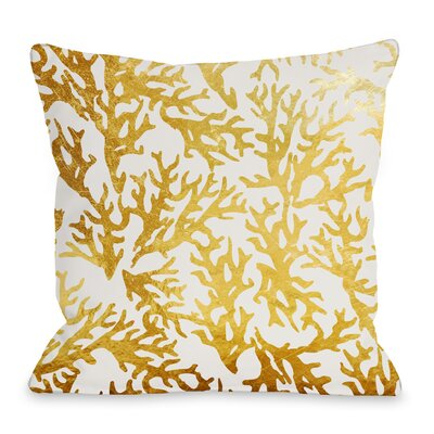 Coral Throw Pillow Size: 16 H x 16 W x 3 D