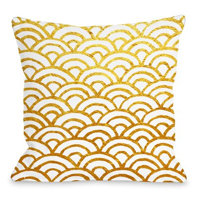 Scallop Throw Pillow Size: 18 H x 18 W x 3 D, Color: Gold