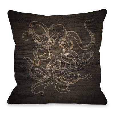 Octopus Wood Sketch Throw Pillow Size: 16 H x 16 W x 3 D