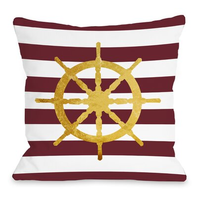 Nautical Stripe Wheel Throw Pillow Size: 18 H x 18 W x 3 D
