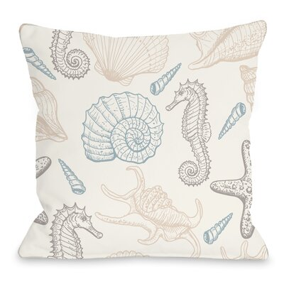 Natural Sea Life Throw Pillow Size: 16 H x 16 W x 3 D