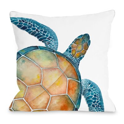 Oversized Sea Turtle Throw Pillow Size: 18 H x 18 W x 3 D