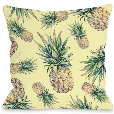 Summer Pineapple Throw Pillow Size: 16 H x 16 W x 3 D