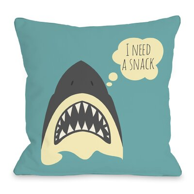 Snack Shark Throw Pillow Size: 16 H x 16 W x 3 D