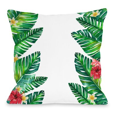 Tropical Palm Leaf Throw Pillow Size: 16 H x 16 W x 3 D