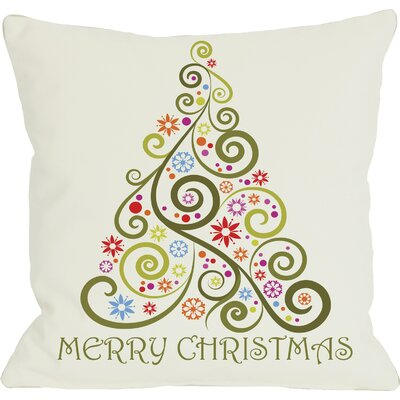Merry Christmas Whimsical Tree Throw Pillow Size: 20 H x 20 W