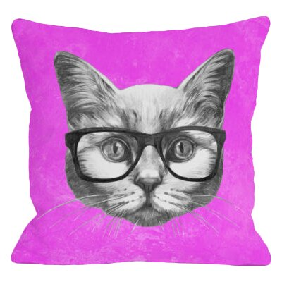 Hipster Cat Throw Pillow Size: 18 x 18