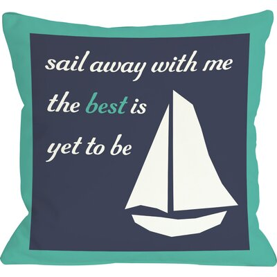 Sail Away Sailboat with Border Throw Pillow Size: 26 H x 26 W