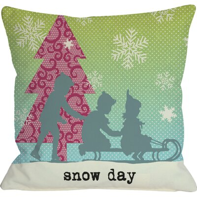 Snow Day Sled Throw Pillow