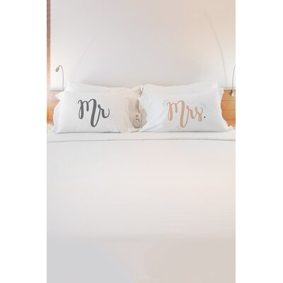 2 Piece Mister Misses Pillowcase Set