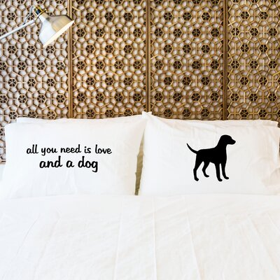 2 Piece Love and Dog Pillowcase Set