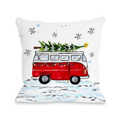 Christmas Bus Throw Pillow Size: 18 x 18
