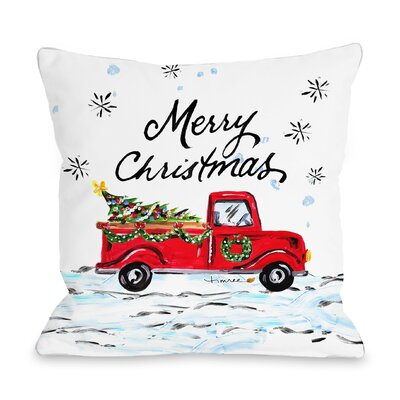 Corr�ze Merry Christmas Pickup Truck Throw Pillow Size: 16 x 16