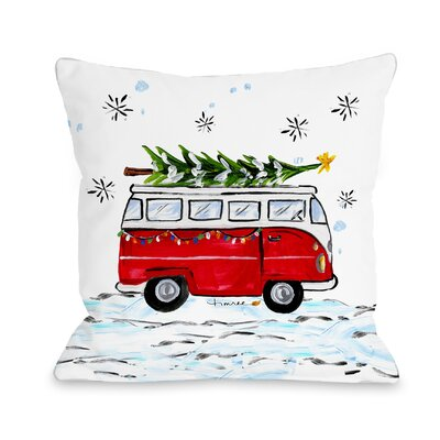 Christmas Bus Throw Pillow