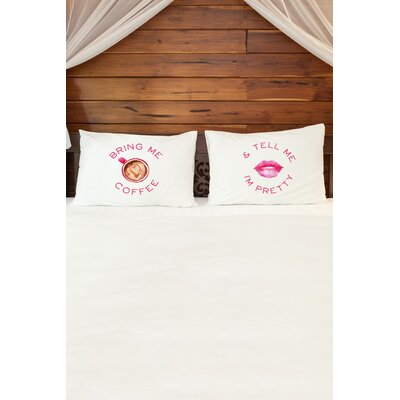 2 Piece Coffee and Pretty Pillowcase Set