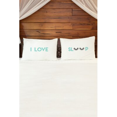 2 Piece I Love Sleep Lashes Pillowcase Set