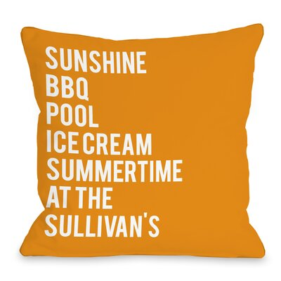 Personalized Summertime At The Family Throw Pillow Size: 18 H x 18 W x 3 D