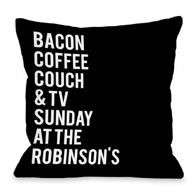 Personalized Sunday At The Family Throw Pillow Size: 16 H x 16 W x 3 D