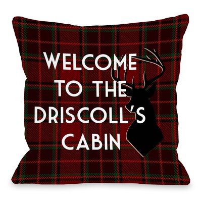 Personalized Family Cabin Plaid Deer Throw Pillow Size: 18 H x 18 W x 3 D