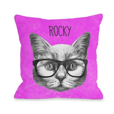 Personalized Hipster Cat Throw Pillow Size: 16 H x 16 W x 3 D